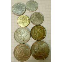 Чехословакия 5, 10, 20, 50 гелеров, 1, 2, 3, 5 крон, набор из 8 монет, Чехословацкая Социалистическая Республика