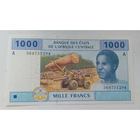 Габон 1000 франков 2002 года.Франк КФА BEAC .UNC.