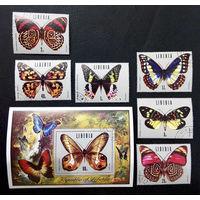 Либерия 1974 г. Бабочки. Насекомые. Фауна, полная серия из 6 марок + Блок #0240-Ф1P55
