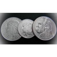 Четкие монеты Польши. 2 злотых 1932, 5 злотых 1933, 5 злотых 1934 г