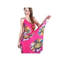 Платок-парео женский пляжный длинный шифоновый с подсолнухами