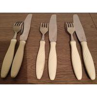 Столовые приборы.Три комплекта (нож+вилка) СССР
