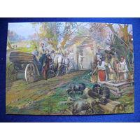 Открытка для посткроссинга (Сверчков Н. К., Приезд Пушкина в чувашскую деревню), прошла почту; штампы, марки, 2014, подписана.