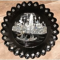Настенное декоративная тарелка Китай лак-натуральный перламутр.Вторая половина 20в