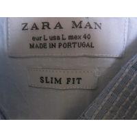 """Рубашка Zara man (slim fit) c """"заплатками"""", L"""