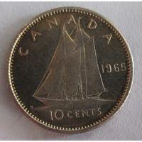 Канада, 10 центов, 1965, серебро