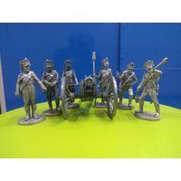 Солдатики оловянные русские артиллеристы 1812 года с пушкой(набор)