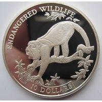 Белиз. 10 долларов 1995. Обезьяна. Серебро (5)