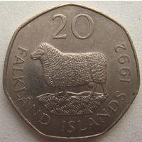 Фолклендские острова 20 пенсов 1992 г. (u)