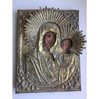 Икона Казанской Божьей Матери. 19-й век. Старая. Намоленная. Размеры - 22 см (высота ) , 17 см (ширина).