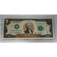 2 доллара США  - позолота 24 карата  UNC