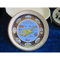 Настенная тарелка Кипр-остров Венеры, 20,5 см, фарфор, ручная работа, позолота.