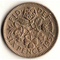 6 пенсов Великобритании 1957 год Елизавета II