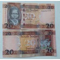 Южный судан. 20 фунтов 2017 года UNC