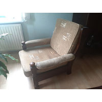 Кресло натуральное дерево от Финского гарнитура 80ые (заменены подушки)