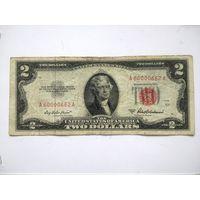 США 2 $ красная печать 1953 A (  красивый номер )