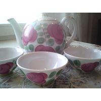 Чайный сервиз чайник пиалы кузяево кузяевский фарфоровый завод