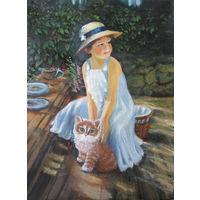 Картина  - Девочка с Котенком