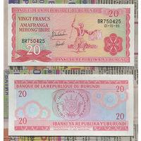 Распродажа коллекции. Бурунди. 20 франков 1989 года (P-27b.4 - 1977-2007 Issue)