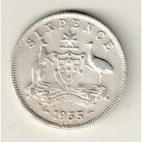 Австралия 6 пенс 1955