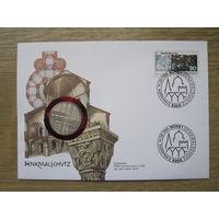 Монета-письмо Германия 5 марок 1975  Европейский год охраны памятников, серебро
