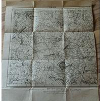 Оригинальная 250м немецкая карта по ПМВ Городище (Барановичский р-н)1915г