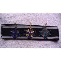 Пруссия - Германская Империя   крест за заслуги ( голубой макс ) на чёрной ленте. 3 шт. распродажа