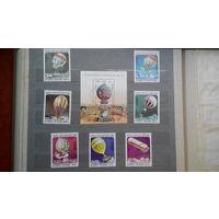 Авиация, дирижабли, марки, Вьетнам, 1983, блок и 7 марок
