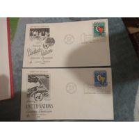 2 конверта США. тиснёный рисунок.