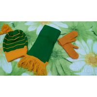 Комплект деми шапка, шарф, варежки
