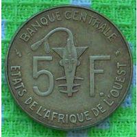 Западная Африка 5 франков 1977 года. Бенин, Буркина-Фасо, Гвинея-Бисау, Кот-д'Ивуар, Мали, Нигер, Сенегал, Того. Инвестируй в коллекционирование!!!