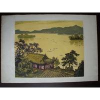 Китай Литография 1950-х годов, Пейзаж Западного озера в г.Ханчжоу, автор Чжан Ян-Си