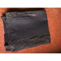 Ткань плательная х/б темно-коричневая с кружевом
