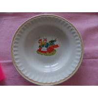 Тарелка СССР, лиса с петухом , детская тематика