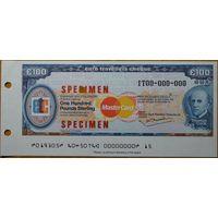 Евро чек путешественников 100 фунтов образец Unc