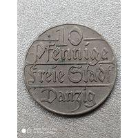 10 пфеннигов 1923 года. Данциг. (Гданьск). Отличная монета!!!