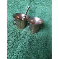 Пара миниатюрных бронзовых ступок
