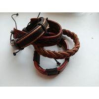 Наручные кожаные браслеты, отличное качество и работа, 4 шт. одним лотом