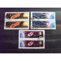 1963 СССР День космонавтики Ляпин 2791-2796 сцепки с цветными и белыми номиналами легкие наклейки космос (3-11)