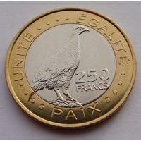 """Джибути. 250 франков 2012 год  КМ#42  """"Фазан - турач"""""""