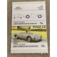 Остров Юнион. Автомобили мира. Porsche Spyder 550-06 1954. Марка из серии