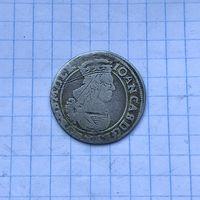 Монета 6 грошей 1663 г. Ян Казимир