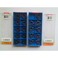 Korloy NC3215 (10шт.) и PC8110 (9шт.); пластина твердосплавная прижимная треугольная, твердый сплав, резец оснастка токарный слесарный инструмент CVD, корлой