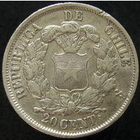 Чили 20 сентаво 1866 СЕРЕБРО (2-169)