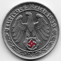 ВЕЛИКАЯ ГЕРМАНСКАЯ ИМПЕРИЯ 50 РЕЙХСПФЕННИГОВ 1939 D РЕДКОСТЬ. ТОРГ