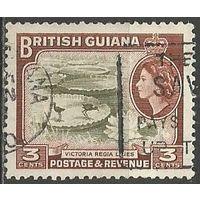 Британская Гвиана. Королева Елизавета II. Водяные лилии. 1954г. Mi#201.