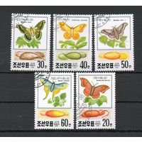 Бабочки Мотыли КНДР 1991 год 5 марок
