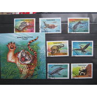 Марки - Танзания  Фауна  Животные Птицы Слон Тюлень Коала Панда Орел  7 Марок плюс блок 1994