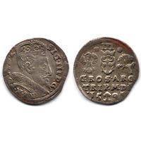 Трояк 1595, Сигизмунд III Ваза, Вильно. Рв - звездочки по бокам номинала III, коллекционная патина