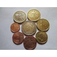 Полный ГОДОВОЙ набор евро монет Италия 2005 г. (1, 2, 5, 10, 20, 50 евроцентов, 1, 2 евро)